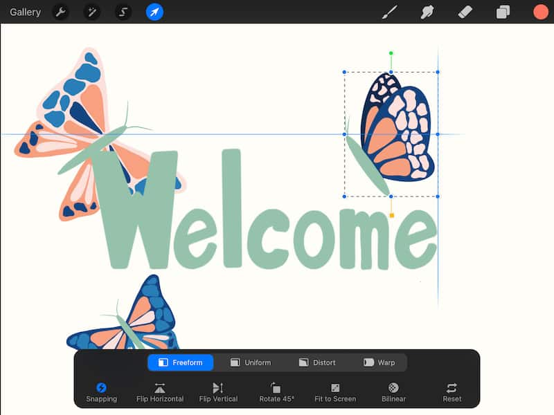 procreate transform tool snapping