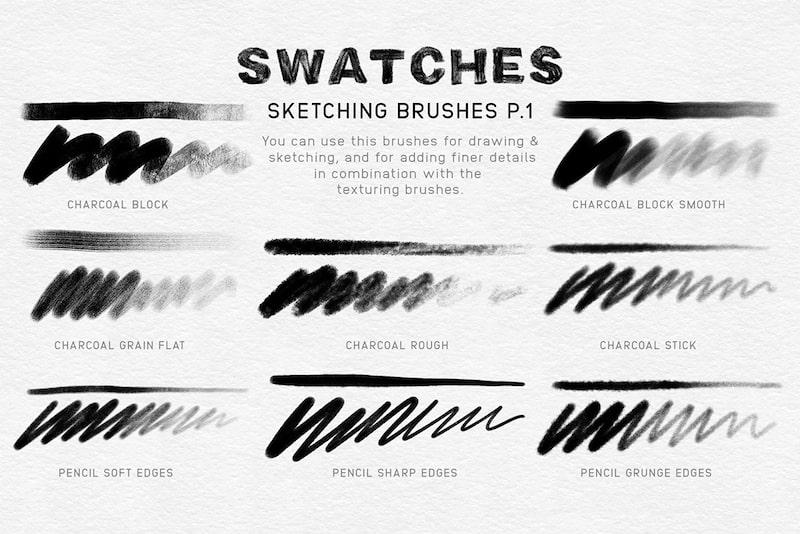 charcoal procreate brush pack