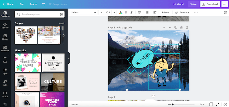 pasting on a canva design
