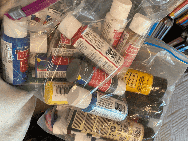 bags of paint tubes
