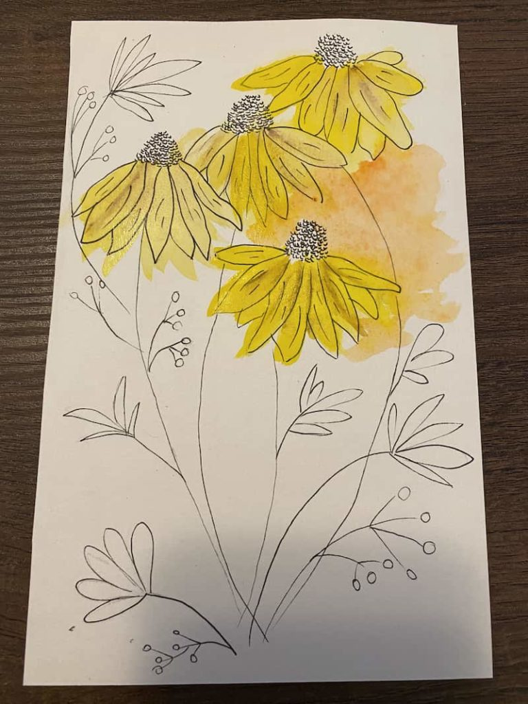 inking and watercoloring together