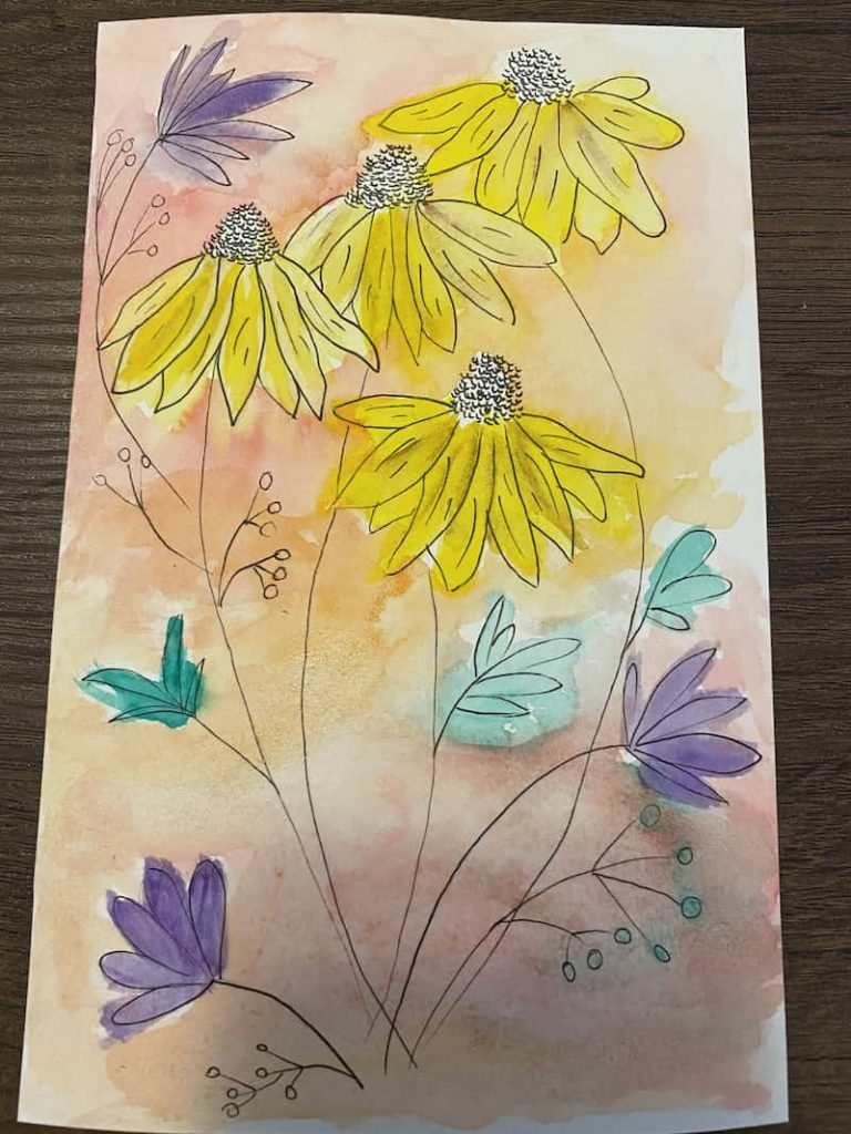 how to outline a watercolor painting with ink