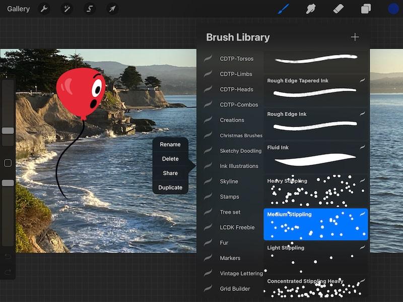 procreate brush sharing settings