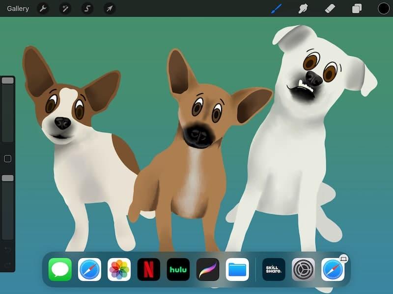 procreate's split screen activating apps