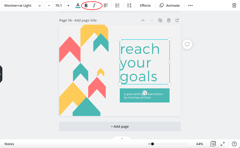 how to bold and italicize text in canva