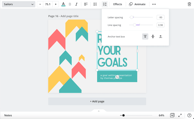canva text and line spacing