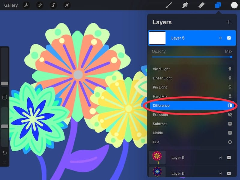 procreate difference blend mode