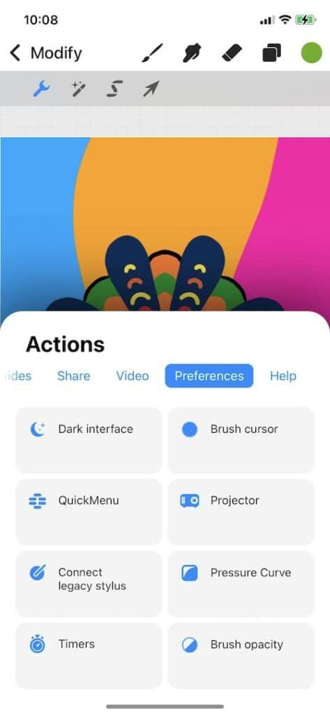 procreate pocket light interface
