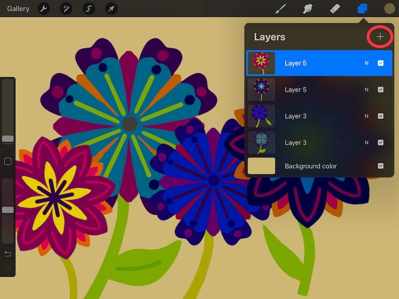 add a new layer with Procreate