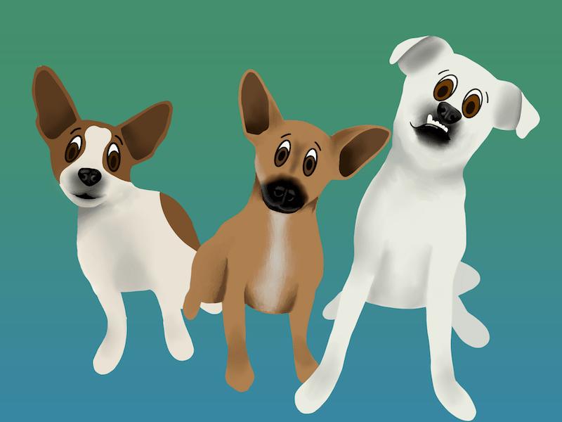 cartoon dogs made with Procreate