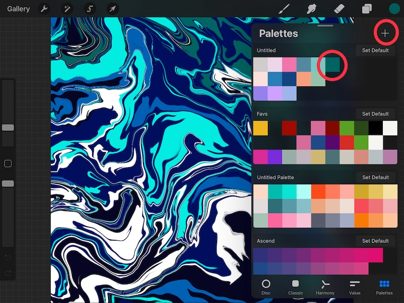 Adding colors to color palettes in Procreate