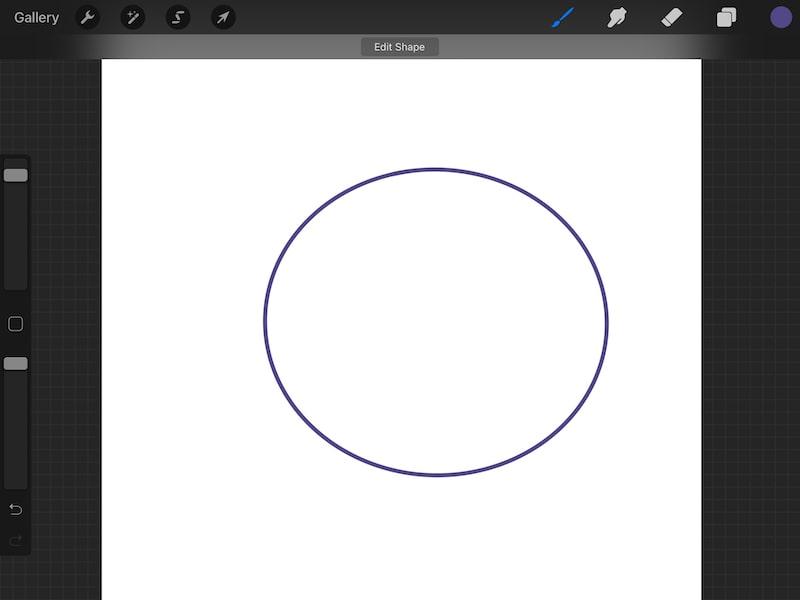 Procreate quickshape circle