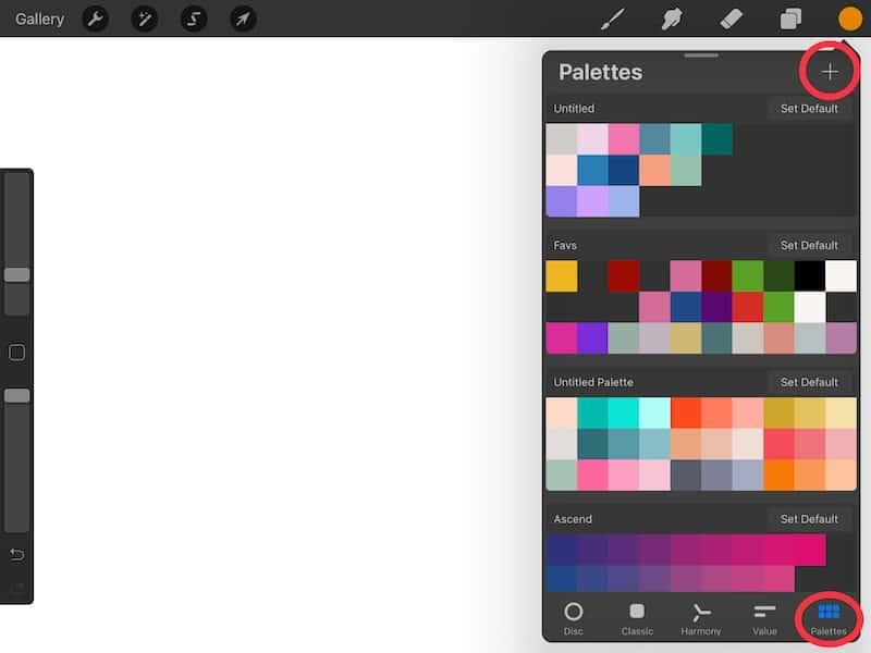 Procreate add a palette