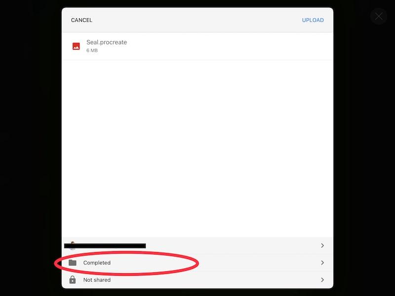 upload procreate art to google drive