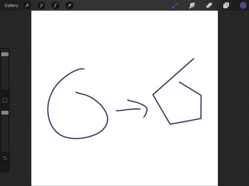 Procreate quickshape circle mistake
