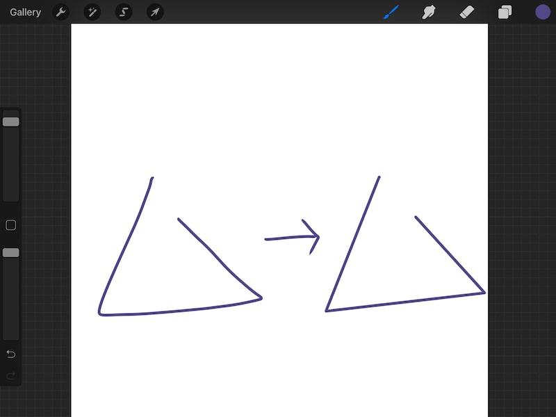 procreate quick shape triangle mistake